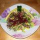 spaghetti di zucchine con panna e sfilacci di cavallo
