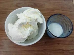 mascarpone fresco e colla di pesce ammollata nel latte